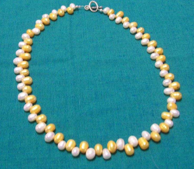 Yellow and white pearl necklace and silver clasp - A$15.00