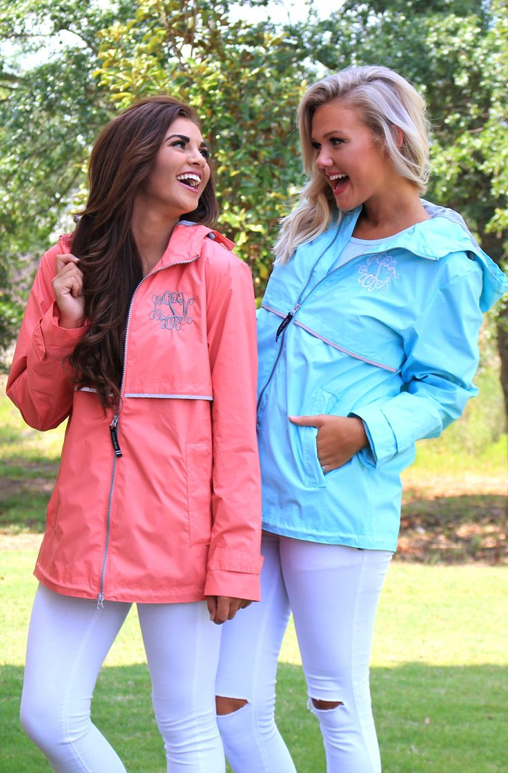 Get your Monogrammed New England Rain Jacket while it's ON SALE today! Shop at marleylilly.com! #rain #jacket #marleylilly