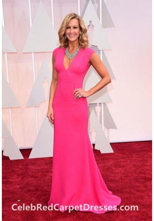 Lara Spencer Sleeveless V-neck Pink Dress Oscars 2015 Red Carpet