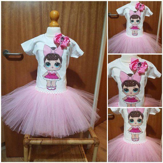 DOLLS  handmade tutu dress set Girls birthday outfit