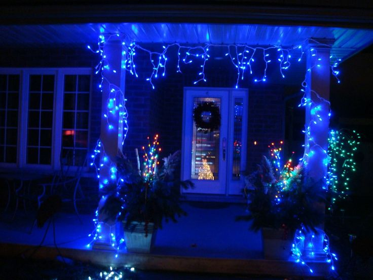 Christmas lights on porch
