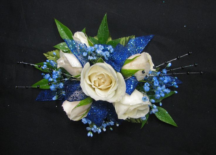 wrist corsage for homecoming for black dress | White and Blue Wrist Corsage