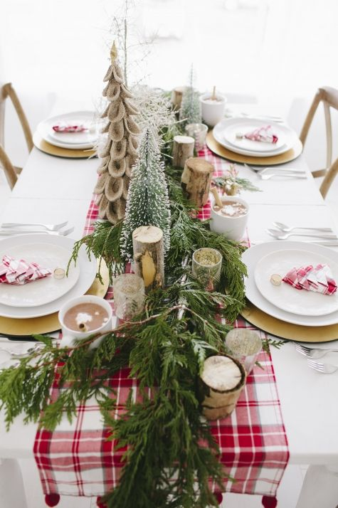 natural greens and red plaid tablescape