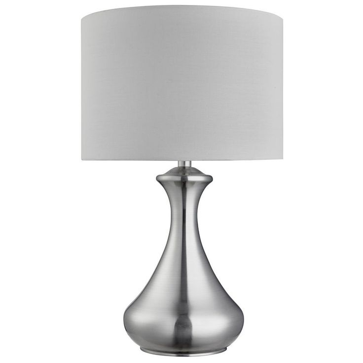 Searchlight 2750ss satin silver touch table lamp white fabric shade by dushka ltd london
