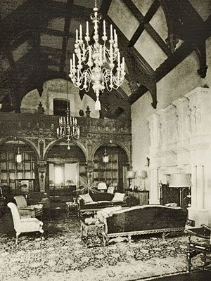 Edward Doheny Jr. Greystone Mansion Los Angeles, CA. Grand living room, 1928, with 11-foot-high stone fireplace.