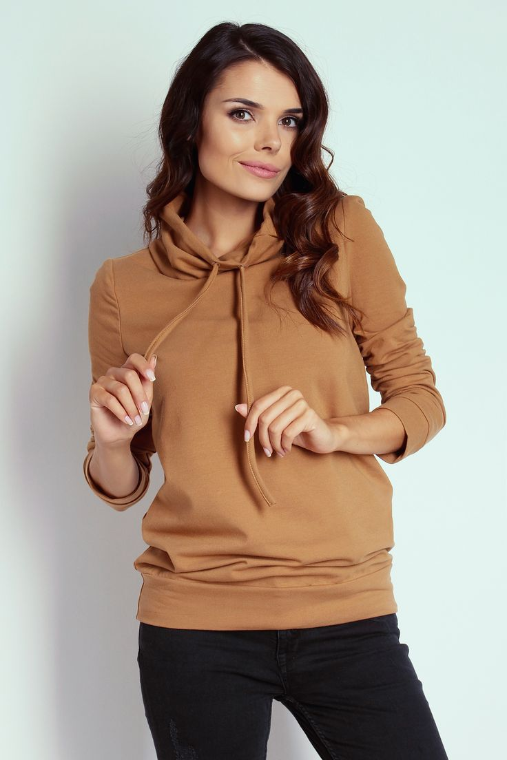 Bluza dresowa w kolorze camel z golfem - TheTwiggyShop.com