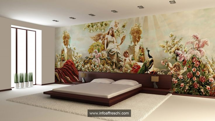 1 mm panel of rollable stucco wonderfully decorated and installed on site #fresco #interiordesign #architecture #wallpaper #interiors #wallart #walldecor #mural #affreschi #frescoes #fresques #frescos #decoration #art #madeinitaly #salonedelmobile #newideas #modernart #modernfresco #bedroomdecoration #luxury #dreamhouse #bedroom #abitareiltempo #homi