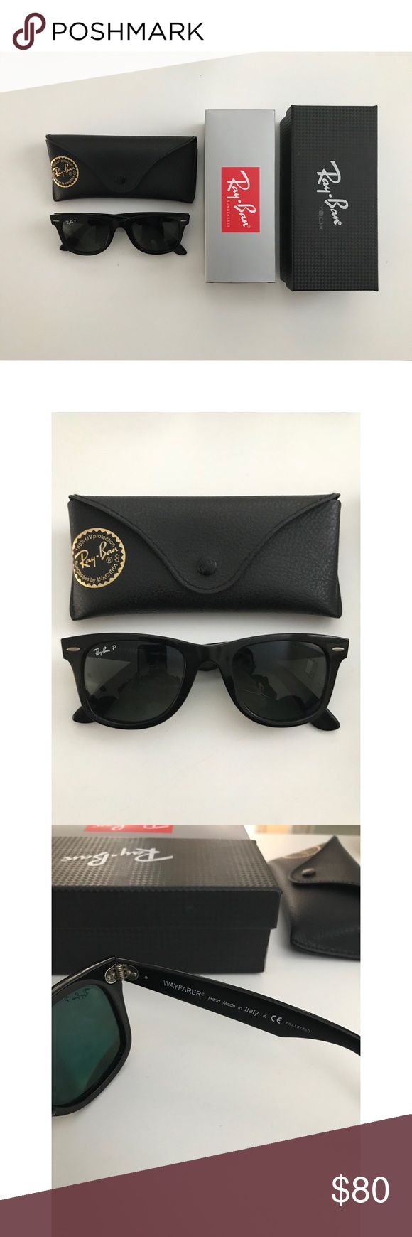 Authentic Polarized Ray-Ban Wayfarer Sunglasses RB2140 unisex glasses. Includes everything in pictures plus a cleaning cloth for lenses. Preowned: overall condition is very good. Frame has some scratches (noticeable when you look very closely), but lenses are fine! Ray-Ban Accessories Sunglasses