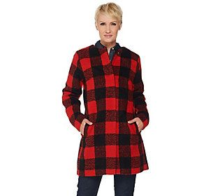 C. Wonder Wool Blend Buffalo Plaid Snap Front Coat