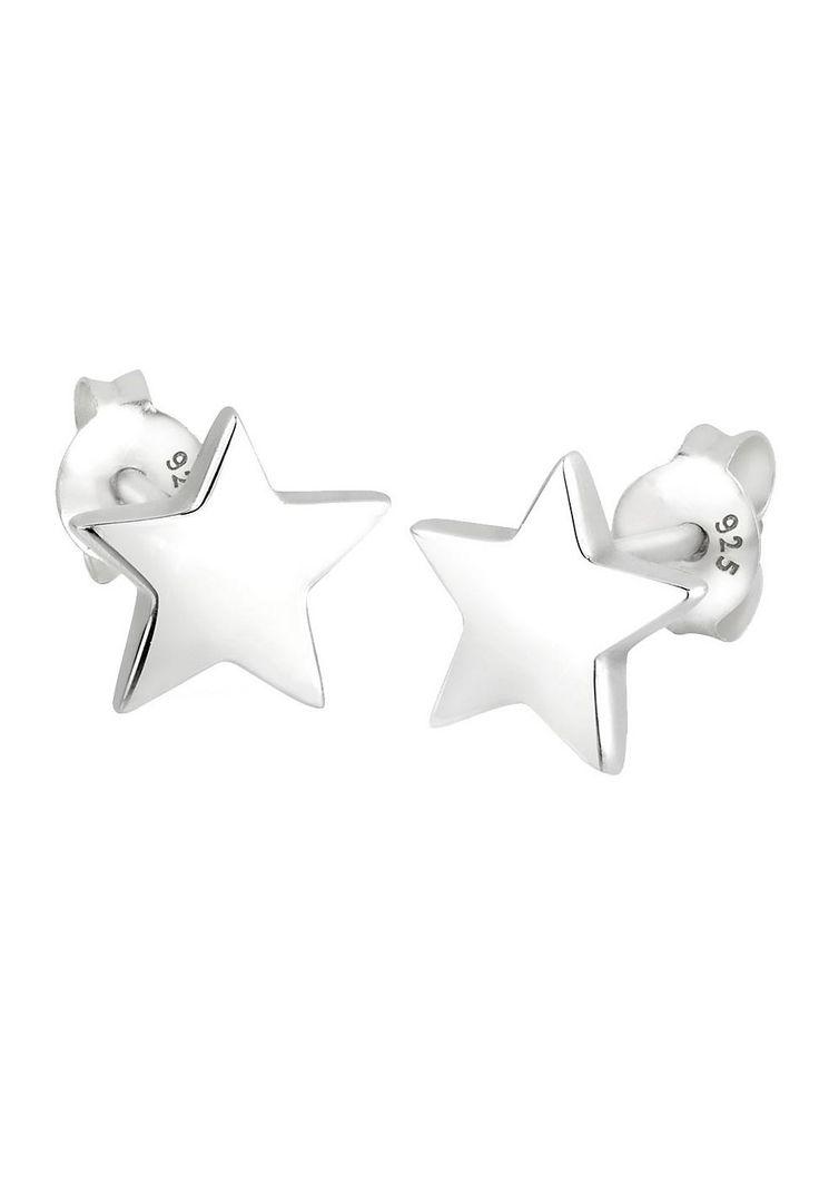 Mit diesen Ohrringen bist du der Star! Ob bei Tag oder Nacht; mit dem angesagten Stern Accessoire liegst du immer richtig. Dieses 925er Sterling Silber Schmuckstück bringt jede Frau zum Strahlen. Als ganz besonderes Highlight kannst du diese Stecker im zweiten Ohrloch tragen und sie mit einem weiteren wunderschönen Paar Ohrringe von Elli kombinieren.  Produktdetails: HËhe: 9mm, Breite: 10mm, Ge...