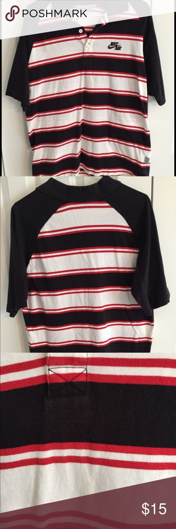 Men's Nike Polo Shirt Black, red and white striped men's Nike Air polo shirt. Very faint yellowish stain on front in the center - at bottom stripe in photo #3. Some normal wash wear/slight graying of collar as seen in photo #4. 100% Cotton. Smoke free/pet free home. Nike Shirts Polos