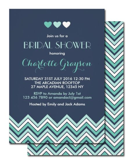 Navy Blue and Aqua Chevron Invitation for Bridal Shower, Engagement Party, #Wedding Baby Shower