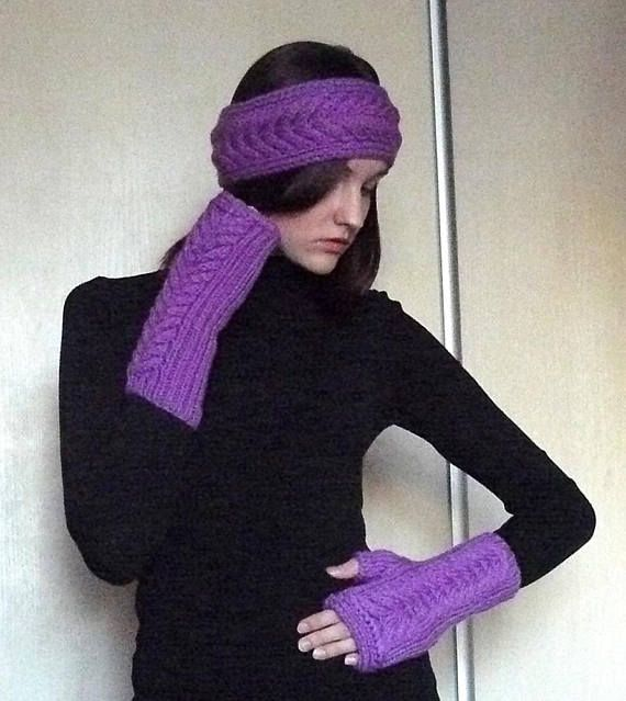 Set knitted headband and fingerless gloves Wool fashion