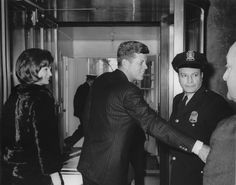 """JFK & Jackie making an exit from the White House.   Every First Family has their own style.  This one seems preferable to those that can't be bothered to say """"thanks."""""""