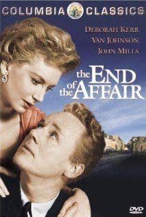 Deborah Kerr, Van Johnson, John Mills. Director: Edward Dmytryk, IMDB: 6.7 ______________________  http://en.wikipedia.org/wiki/The_End_of_the_Affair_%281955_film%29 http://www.rottentomatoes.com/m/1095362-end_of_the_affair/?search=The%20End%20of%20the%20Affair http://www.tcm.com/tcmdb/title/74080/The-End-of-the-Affair/ Article: http://www.tcm.com/tcmdb/title/74080/The-End-of-the-Affair/articles.html http://www.allmovie.com/movie/the-end-of-the-affair-v90464