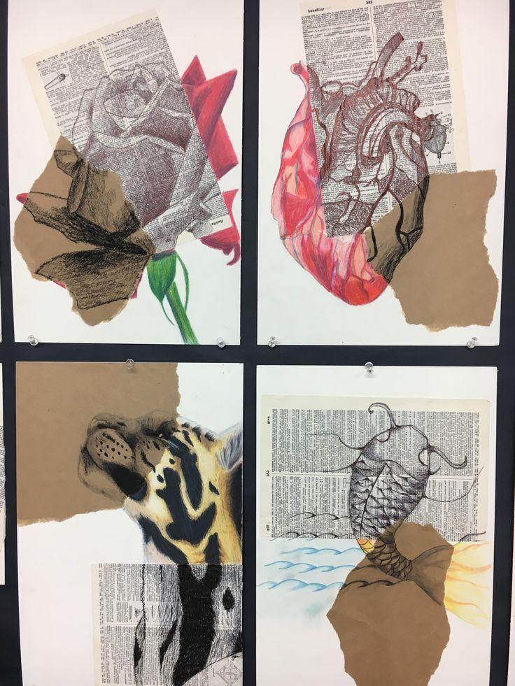 Multimediales Projekt für Zeichnung 2. Tinte, Kohle und Farbstift auf verschied…