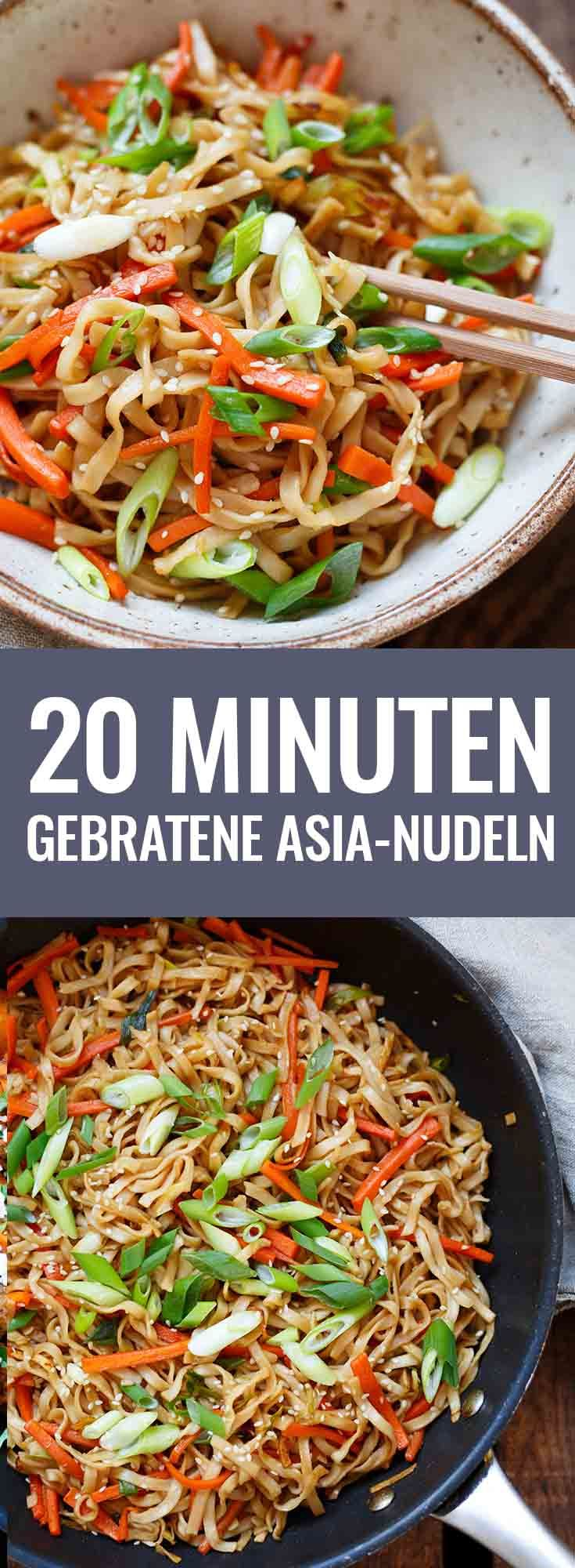 Gebratene Asia-Nudeln! Dieses einfache 20-Minuten Rezept ist ein Gamechanger! Besser als vom Takeaway, voll mit Gemüse und nur eine Handvoll Zutaten - Kochkarussell.com #bratnudeln #vegan #veggies #easyrecipe