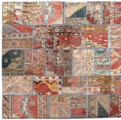 anatolia patchwork carpet - Fragments of Turkish wool carpets 80 to 90  years old are handcut