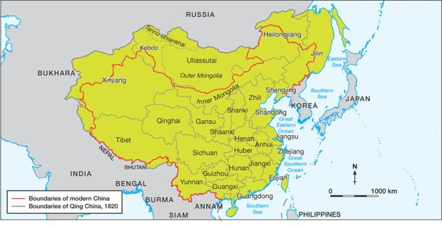 Chinese empire under the Qing dynasty in 1820