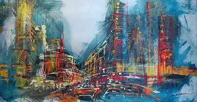 Jazz City Nights - original painting by Gisele Boulianne at Crescent Hill Gallery