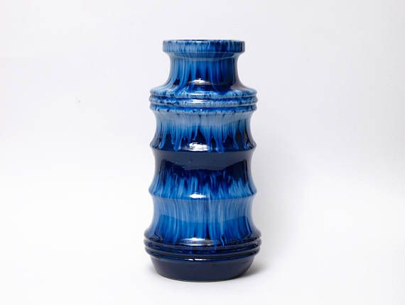 Large Scheurich Blue Pagoda Vase Form 266 28 West German