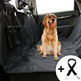 #8: Honest Outfitters Dog Car Seat Cover With Seat Belt Pet backseat cover with Front Zipper & Front Pocket for Cars Trucks and Suvs  WaterProof & NonSlip Hammock Convertible Black