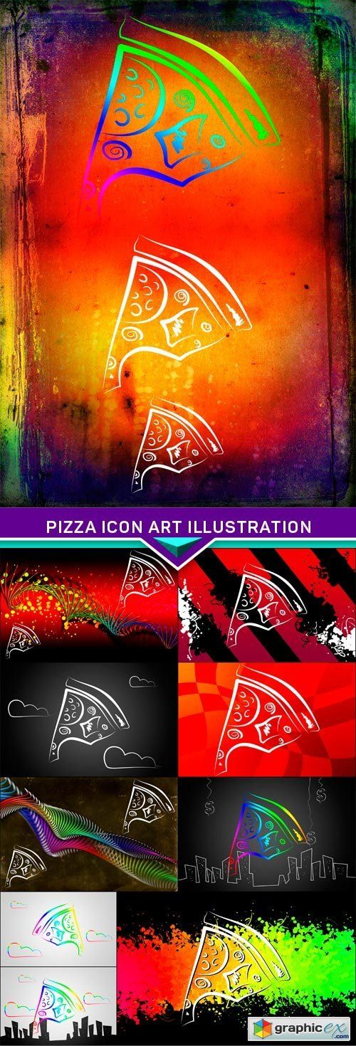 Pizza icon art illustration 10x JPEG  stock images