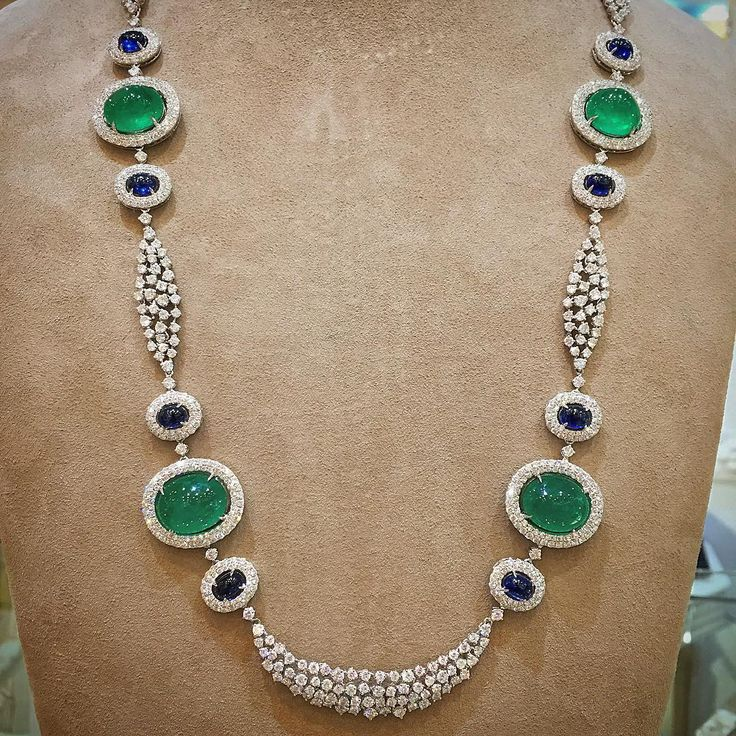 imperialejoyerosAn Exceptional Piece. Long diamond necklace, with Sapphires and Emeralds in Cabochon cut. An exclusive piece of Imperiale. #ExcelenceGenerations