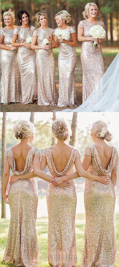 Gold Bridesmaid Dresses, Yellow Long Bridesmaid Dresses, Sheath/Column Scoop Neck Bridesmaid Dress, Sequined Ruffles Short Sleeve Bridesmaid Dress