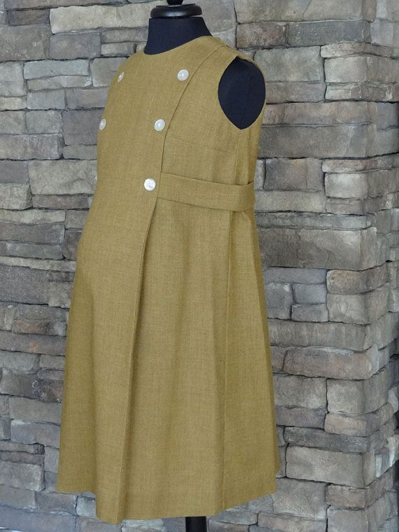 1950's/60's Carmel Brown Maternity Dress/Jumper  by TushVintage, $99.00