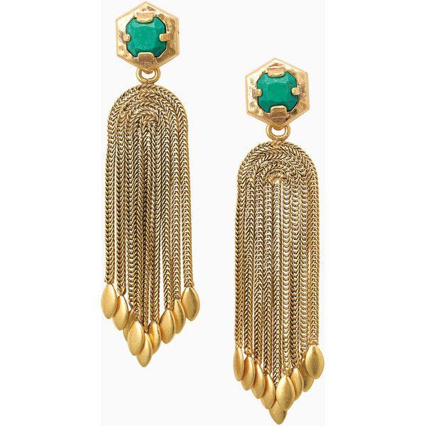 Stella & Dot Odeon Chandeliers ($49) ❤ liked on Polyvore featuring jewelry, earrings, statement earrings, vintage earrings, vintage jewelry, vintage jewellery and emerald green stud earrings