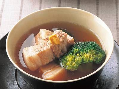 ブロッコリーのスープ東坡肉(トンポーロー)レシピ 講師は山本 麗子さん 中国風の豚肉のしょうゆ煮込み、東坡肉をすっきりとしたスープ仕立てでどうぞ。