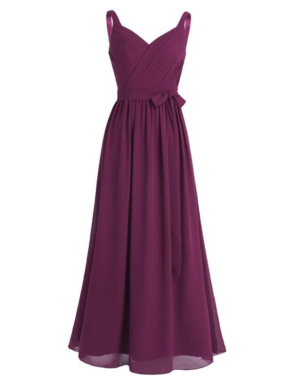 #4-16 Women Ladies Sleeveless Pleated V Neck Chiffon Elegant Long Bridesmaid Dress Evening Prom Gown with Sash