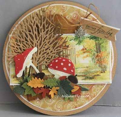 Card made by DT member Neline She used the LR0372 mushrooms LR0373 acorn with leaf LR0372 Tiny's tree and leaf IT579 Tiny's autumn CR1336 autumn leaves PK9121 shabby chic
