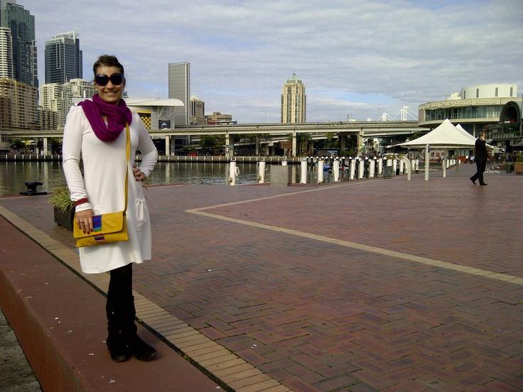 Liezel van Biljon and her clutch bag in Sydney :)