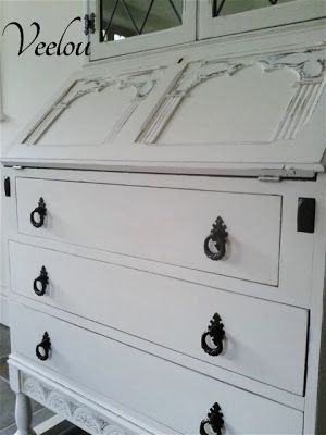 Secretary Makeover In Old White Chalk Paint By Veelou - Featured On Furniture Flippin'