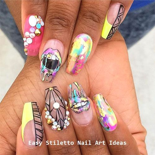 30 große Stiletto Nail Art Design-Ideen #nailideas #nail – Stiletto Style Nails