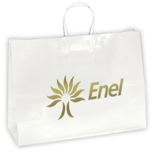 Lowest Price Guarantee on Personalized Aubrie-White Gloss Paper Shopping Bags! Get Now!   #EcoFriendlyBags  #FreeShipping
