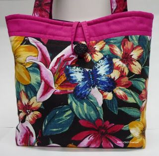 BaRb'n'ShEll Creations-Butterflies and Lillies tote - BaRb