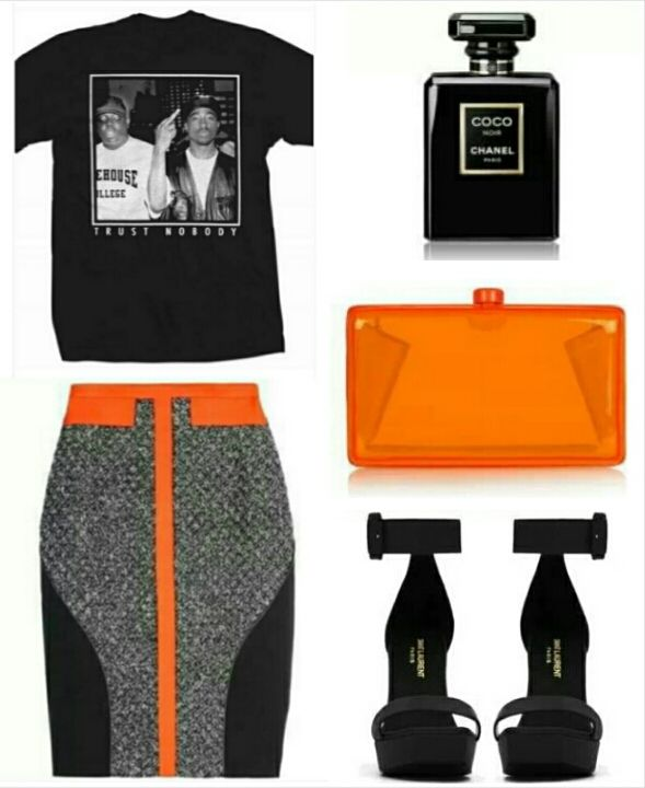 Style Me Pair La Femme Rebelle Clothing's Biggie & Tupac TRUST NOBODY Tee Shirt with a bold colorblock pencil skirt, matching clutch and strappy black heels..... Perfect for a girls night out or hitting the club http://lafemmerebelle.storenvy.com/products/7193840-biggie-tupac-trust-nobody-tee-shirt