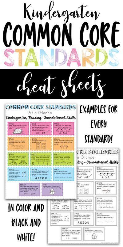 Kindergarten Common Core Standards Cheat Sheets Homeschool