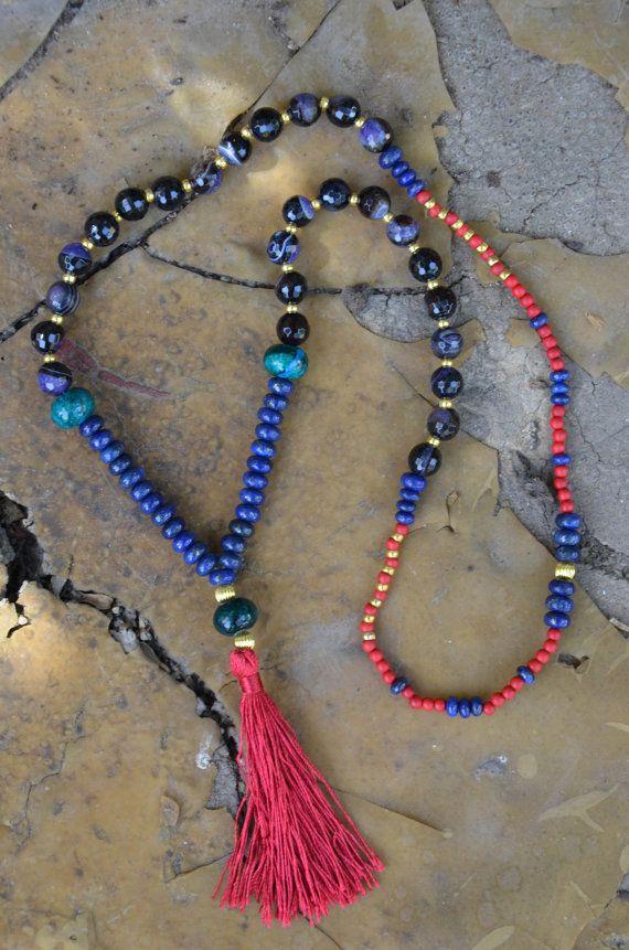 Mala necklace tassel necklace semi precious stones by MyChocolala