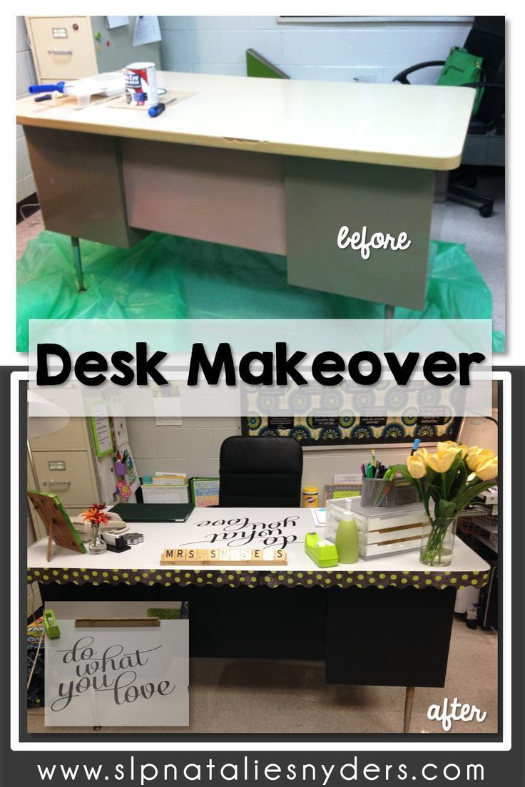 Classroom Desk Makeover In 2020 Classroom Desk Desk Makeover Teacher Desk Organization