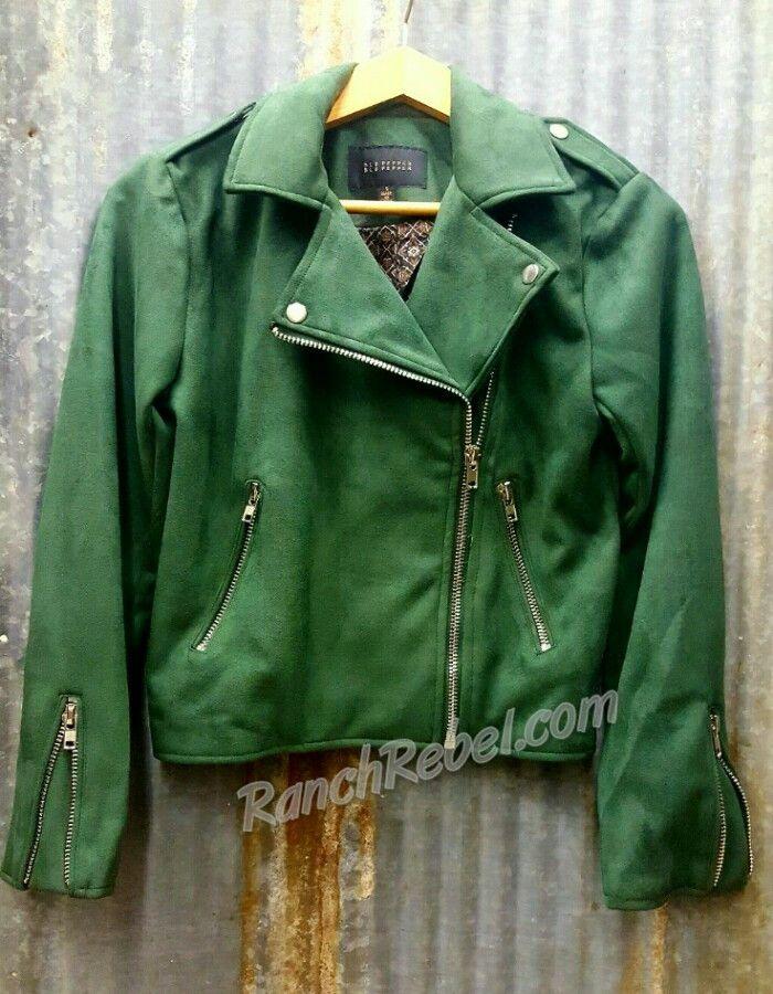 Hunter Green Suede Moto Jacket #1472