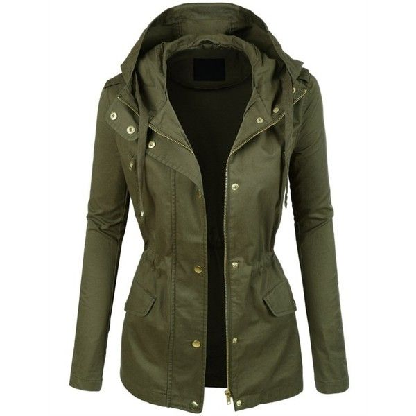 Olive Anorak Gold Detail Jacket ($47) ❤ liked on Polyvore featuring outerwear, jackets, olive anorak, olive green jacket, green camo jacket, army green jacket e anorak jackets