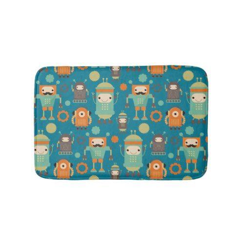 Robot Lover Cute Kids Bath Mat