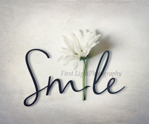 Typography Photograph with Flower Smile word by FirstLightPhoto