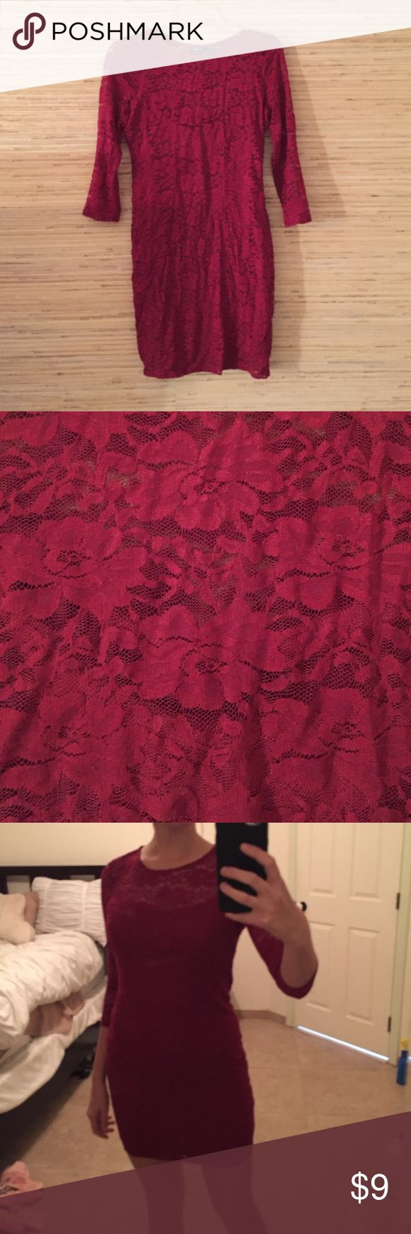 Red lace half sleeve dress Cute clubbing by dress, super cute. Wore it once. Dresses Mini