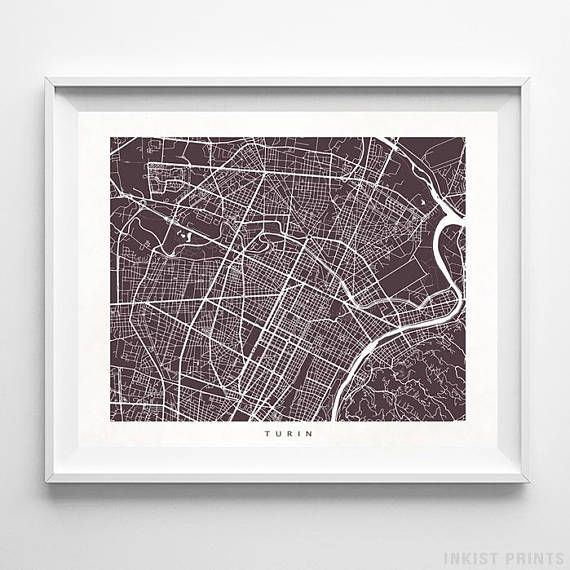 Turin, Italy Street Map Wall Art Poster - 70 Color Options - Prices from $9.95 - Click Photo for Details - #streetmap #map #homedecor #wallart #Turin #Italy