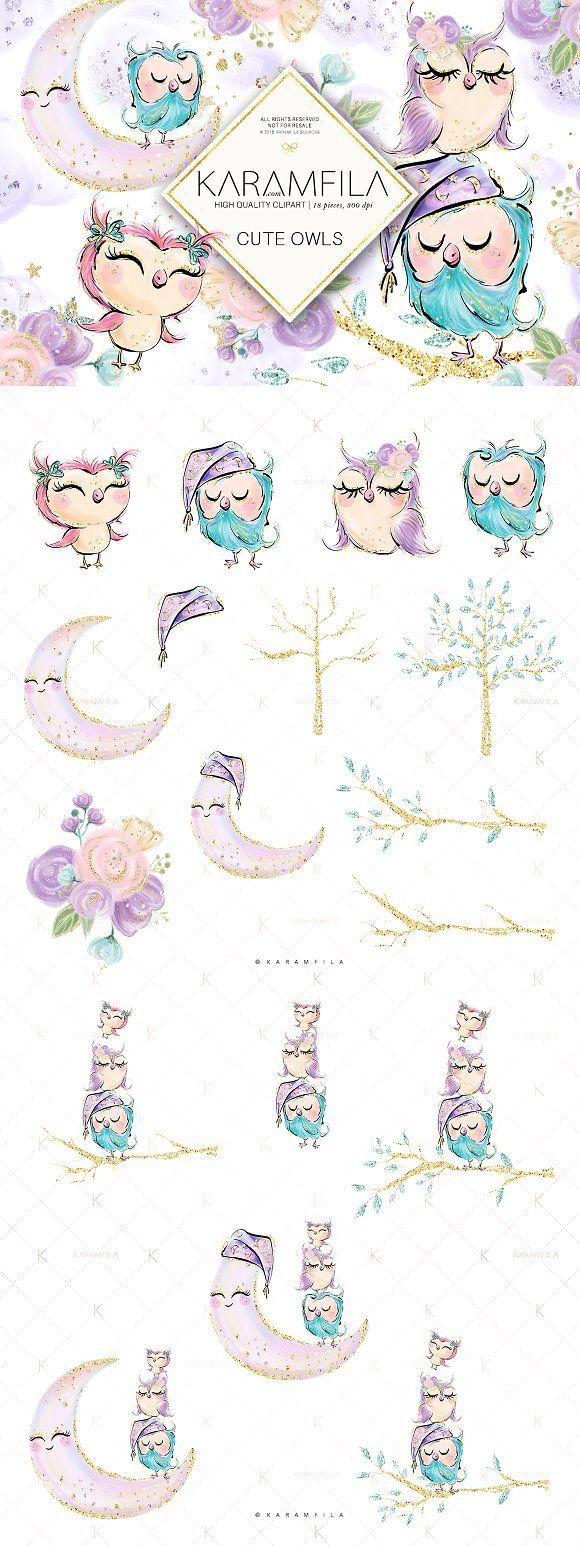 Cute Owls Clipart by Karamfila on @creativemarket #owl #plannerlove #children #illustration #digitalart #clipart